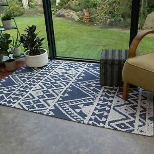 Denim Blue Hallway Runner Rugs Small Large Living Room Rug Cotton Mats CLEARANCE