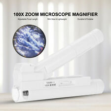Handheld 100X Zoom Lens LED Light Magnifier Jewelry Microscope Magnifying Glass