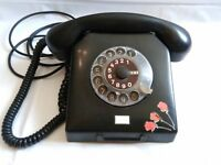 Vintage rotary carboline phone. DDR .Germany. Telephone . Black . Old rarity.