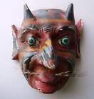 Vtg CARVED wood FOLK ART Mayan DEVIL MASK from Mexico/ Guatamala Dia De Muertos