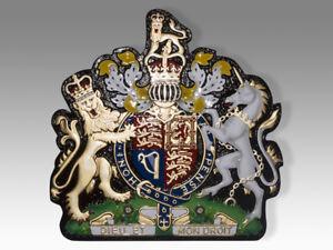 Royal Coat of Arms Dieu Et Mon Droit Mahogany Wood Handmade Plaque Seal Emblem