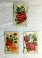 Lot Of 3 Vintage Rose Floral Postcards Post Cards