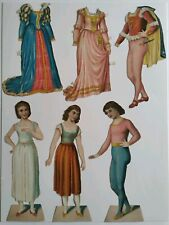 Antique Paper Dolls Lithograph Embossed German Prince Princess Royalty Vintage