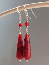 Vintage Venetian Red & Black Swirl End of Day Glass 14ct Rolled Gold Earrings