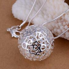 Fashion 925sterling Silver Charms ball Pendant Beautiful women Necklace jewelry