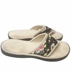 Isotoner Beige Terry Floral Thong Slippers L 8.5-9 Petunia Indoor Outdoor Cozy