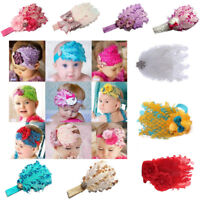 Lavender Flower Headband Girl Feather Baby Infant Hair Bow Accessories Headwear