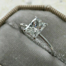 1.00 Ct Emerald Cut VVS1 Diamond Solitaire Engagement Ring 14k White Gold Finish
