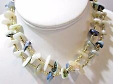 VINTAGE SEASHELL AND SMALL YELLOW GLASS SEED BEAD DOUBLE STRAND NECKLACE JAPAN