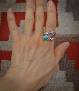 Adjustable Ring, Navajo Sterling Silver Turquoise Coral Flower Ring