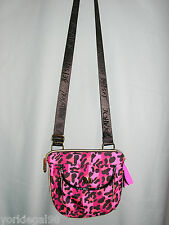 Betsey Johnson Cheetah Stripes Pink Turnlock Expandable Crossbody Bag NWT