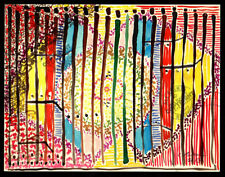 Japanese Paper Dreams 2013 WATERCOLOR PAINTING sketch SIGNED Abstract tapestry