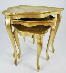 Vintage Wooden Nesting Tables Accent Table Italian Florentine Hollywood Regency