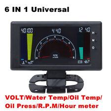 "5"" LCD Digital 6 in1 Multi-Function Gauge Tachometer Car Meter LED Gauge+Sensor"