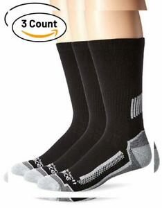 Carhartt Men's Force Performance Work Crew Socks (3/6 Shoe Size: 6-12, Black