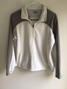 tek gear womens long sleeved 1/4 zip activewear fleece jacket size:L white/gray