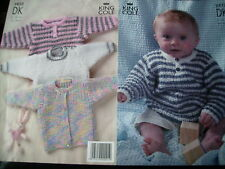 """babys sweaters and cardigan knitting pattern sizes 12""""-24"""" chest"""