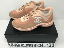 CHANEL WOMEN'S TRAINERS SNEAKERS CC RUNNER US 7 UK 4.5 37.5 DUSTY PINK SUEDE