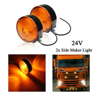 2x Hella Lollipop Lollypop Earring Amber Mirror Side Light Lamp Fit Scania Volvo