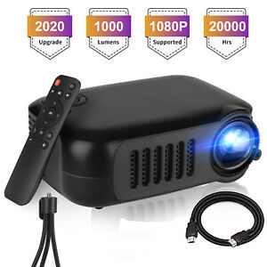 1080p Full HD Portable LED Mini Projector Home Theater Cinema w/HDMI AV USB Port