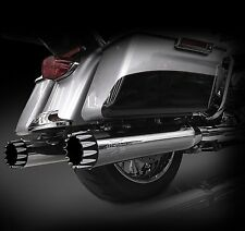 RCX Exhaust 4.5 Chrome Harley Touring Slip on Mufflers- Excalibur Eclipse Tips