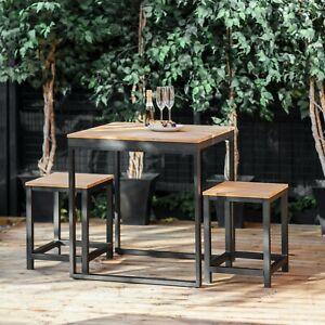 Teak Wood & Black Steel Camley Table Stool Set, Garden Patio Outdoor Furniture