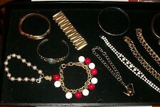 Lot of 11 Bracelets Cuff Rhinestone Chain  Pearl Expansion Bangle by Paul Carver