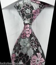 New Classic Florals Silver Black Pink JACQUARD WOVEN 100% Silk Men's Tie Necktie