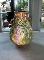 Roseville Pottery Wisteria Brown Vase 631-6 Foil Label