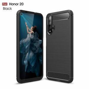 For Honor 20 Carbon Fibre Gel Case Cover Shockproof & Stylus Pen