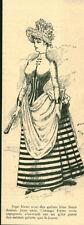 Gravure ancienne 1885 mode jupe bleue avec des galons bleus foncé issue du livre