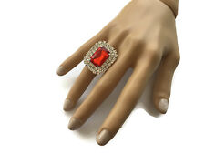 Stunning Red Diamante Crystal Cluster Cocktail Ring fully adjustable Silver Tone