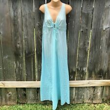 Vintage Nightgown 100% Nylon Sleeveless Lace Trimmed Sheer Women's Size L 16-18