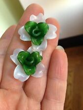 20 Antique Victorian Venetian Glass Flower Bead Bi-Color White Green w Wire