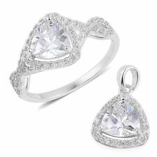 WHITE CLEAR SIMULATED DIAMOND TRILLION RING AND PENDANT SET STERLING SILVER 8