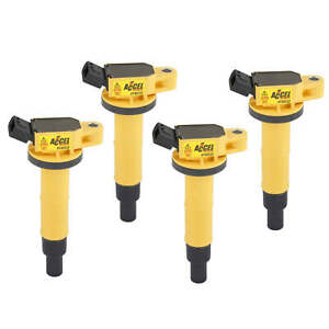 Accel Yellow Supercoil 4 Pack For 2001-2013 Toyota 2.4L Inline 4 Cylinder