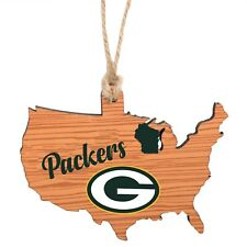 Green Bay Packers Christmas Tree Holiday Ornament - Logo State Wooden Nation USA