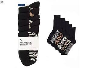 5 Pack Ladies EX M+S Socks Black with Animal Print Design 3-5, 6-8 Cotton Blend