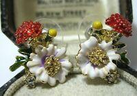 Vintage Style Enamel & Crystal Wild Strawberry Flower Stud EARRINGS Jewellery