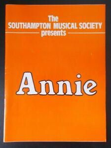 Annie programme Southampton Gaumont Theatre 1985 Southampton Musical Society