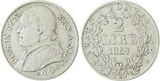 VATICAN  PIE  IX  2  LIRE  ARGENT  1867  ROME  AN  XXII