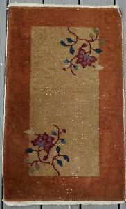 ANTIQUE ART DECO CHINESE RUG  30 BY 18 1/2 INCHES  # 3