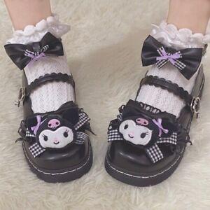 Lolita JK Uniform Women Cosplay Shoe KUROMI Princess Round Toe Shoes w/ Bowknot
