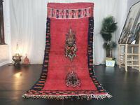 """Vintage Moroccan Tribal Handmade Rug 3'9""""x8'4"""" Berber Red Blue Floral Wool Rug"""