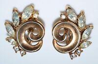 VTG 1950 CROWN TRIFARI Alfred Philippe Abstract Clear Rhinestone Earrings