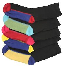 5 pairs of Kids Boys Cotton Rich Chain Store Design Coloured Heel & Toe Socks