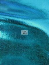 "METALLIC FOIL SPANDEX FABRIC - Turquoise - 2 WAY STRETCH LYCRA  58""/60"" WIDTH"
