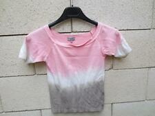Top T-Shirt NAF NAF rose blanc viscose taille M / L