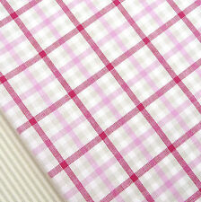 Cherry pink, linen and white check fabric / quilting blind patchwork vintage