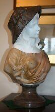Art Deco Italian 1920s polychrome carrara marble bust of a lady sculpture
